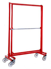 Red garment rail